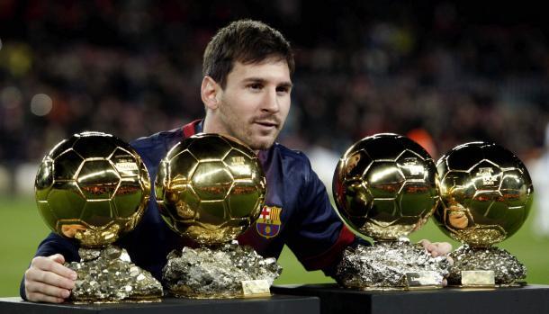 Messi con sus balones de oro
