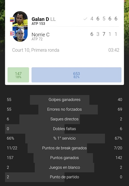 Estadísticas finales del partido. Imagen: Tennis Temple, app oficial.