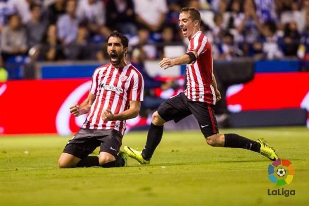 Raúl García celebra su gol al Dépor. | Foto: LFP.