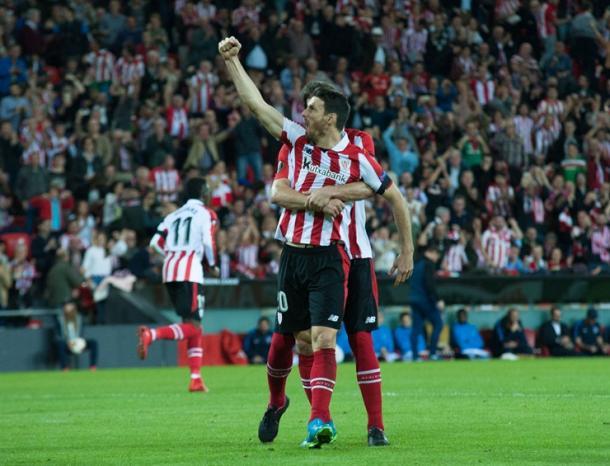 Aduriz celebrando el gol del empate. Foto web: Athletic club