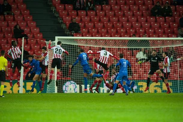 Momento del gol de SD Formentera. | Foto: Athletic