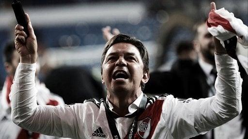 Gallardo festajando en Madrid su tercera Libertadores: La ganó como jugador en 1996 y como técnico en 2015 y 2018.