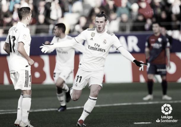 Gareth Bale celebra el único gol en El Alcoraz | Foto: LaLiga