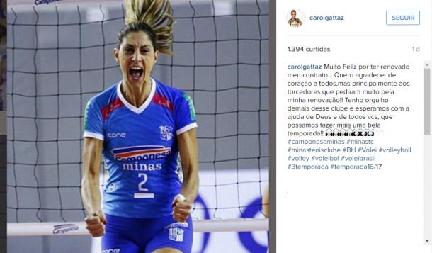 Carol Gattaz usou sua conta em uma rede social para celebrar renovação com Minas (Foto: Reprodução/Instagram)