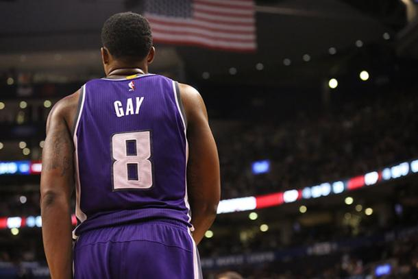 Rudy Gay looks on after a stoppage in play. PHOTO: Kings.com photography