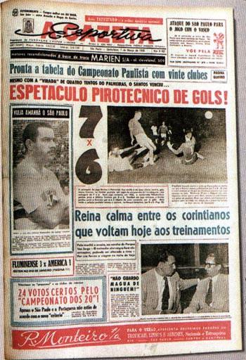 Capa do jornal A Gazeta sobre o jogo histórico