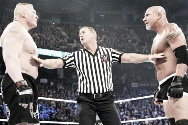 Goldberg is expected to face Lesnar at WrestleMania. Photo-Twitter.com