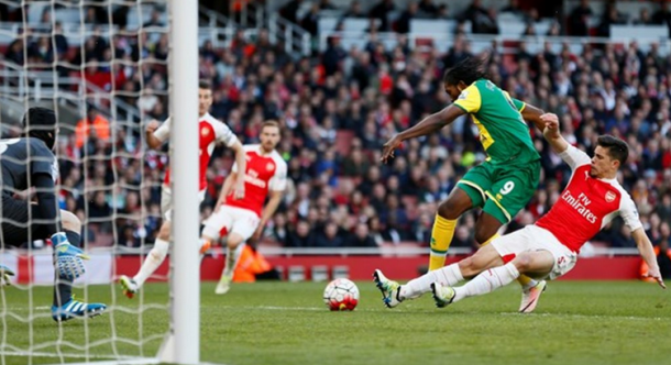 Access denied: Gabriel's excellent sliding interception denied Mbokani the opportunity to equalise from close-range. | Image: Twitter