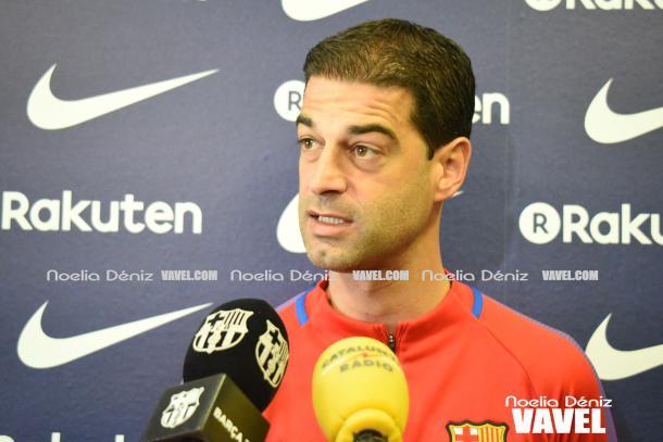 El técnico de Granollers durante una comparecencia / Foto: Noelia Déniz (VAVEL.com)