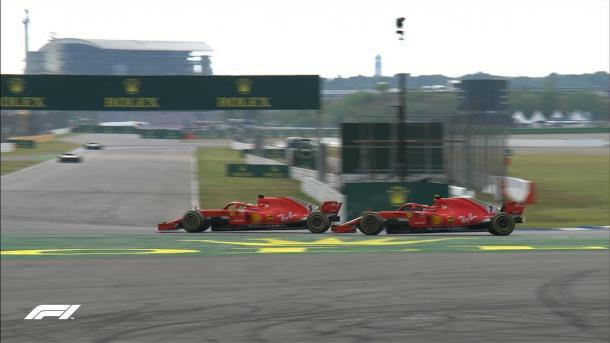 Il sorpasso di Vettel su Raikkonen | twitter f1