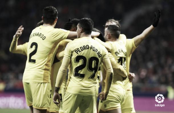 Jugadores del Girona tras el gol de la clasificación | Foto: LaLiga