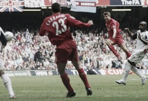 Golazo de Gerrard en el descuento de la final de la FA Cup frente al West Ham./ Foto: Liverpool FC
