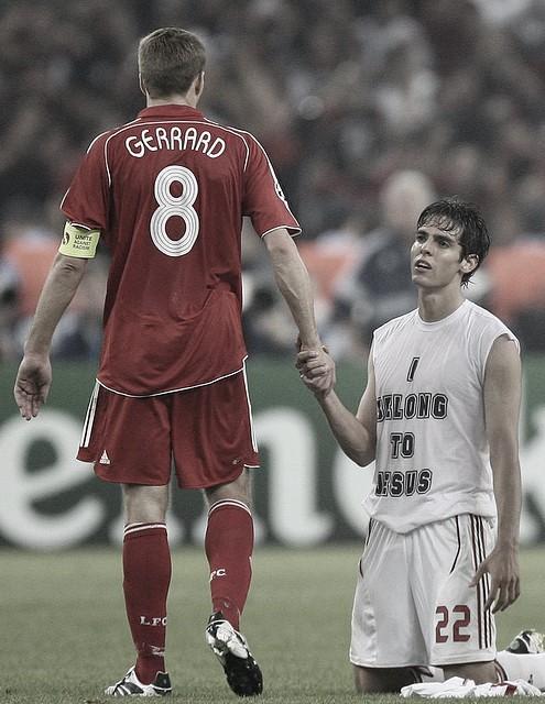 Gerrard y Kaka grandes figuras de Liverpool y Milan./ Foto: UEFA.com