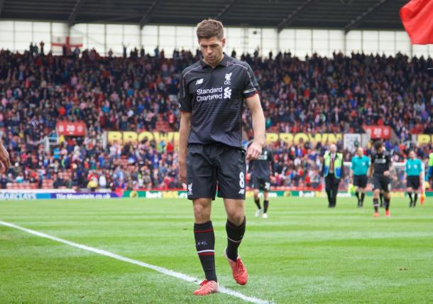 Gerrard in the aftermath of Liverpool's 6-1 defeat to Stoke, his final game. (Picture: Getty Images)