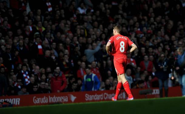 Gerrard trudges off the pitch after being sent off - Manchester United. (Picture: Getty Images)