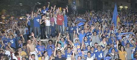 La afición celebra el ascenso a Primera. Fuente: Getafe CF