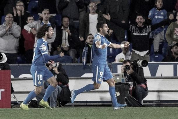 Ángel celebra su gol ante el Granada en la primera vuelta / Fuente: Getafe CF