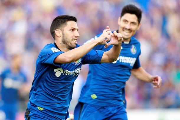 Pacheco celebra uno de los goles que dan el ascenso. Fuente: Getafe CF