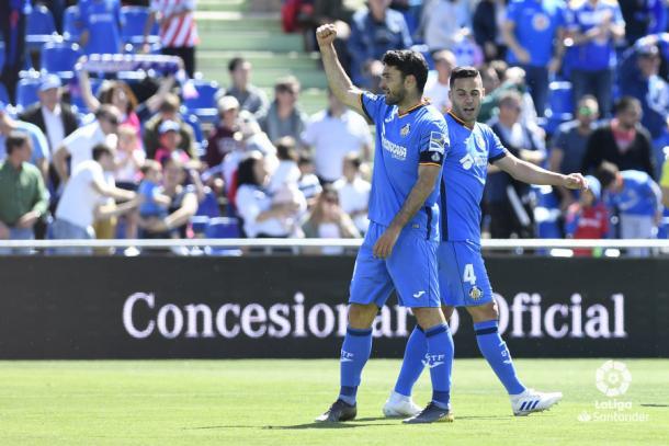 Jorge Molina y Bruno celebran un gol. Fuente: La Liga