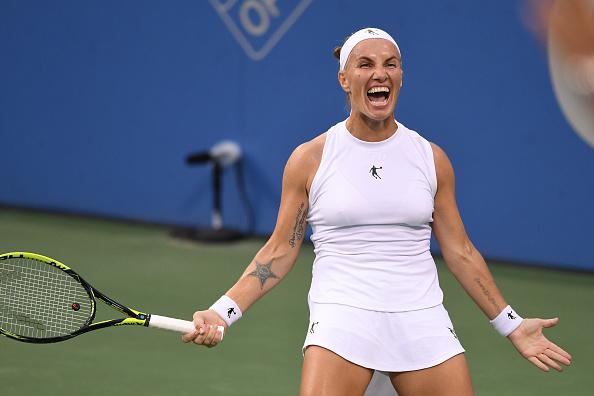Svetlana Kuznetsova celebrates her hard-fought win | Photo: Mitchell Layton / Getty Images