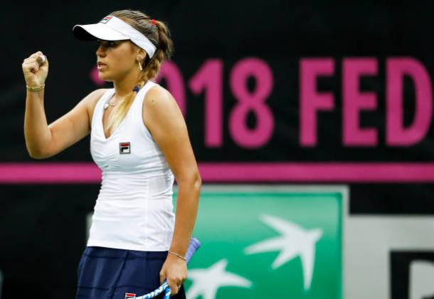 Sofia Kenin came from a break down twice to take the first set | Photo: Srdjan Stevanovic / Getty