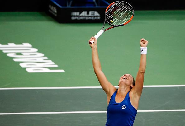 Barbora Strycova celebrates her emotional win | Photo: Srdjan Stevanovic / Getty