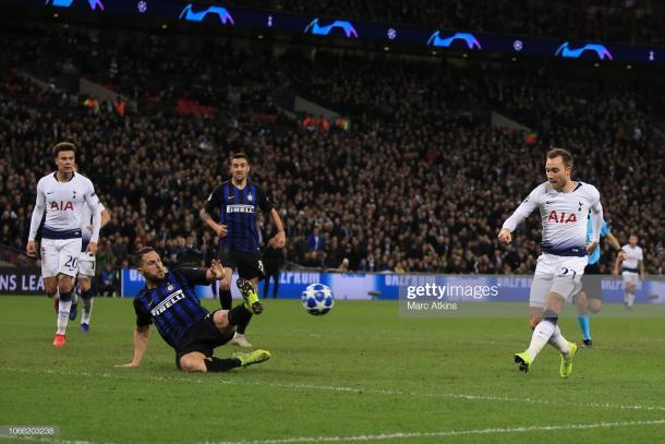 Uno de los goles más importantes del Tottenham en la presente Champions, ante Inter en fase de grupos para romper un 0-0 que los dejaba casi afuera / Foto: Getty images
