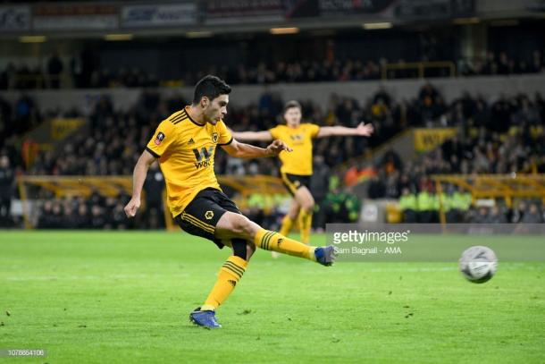 Raul Jimenez puts Wolves 1-0 up. (Sam Bagnall/Getty Images)