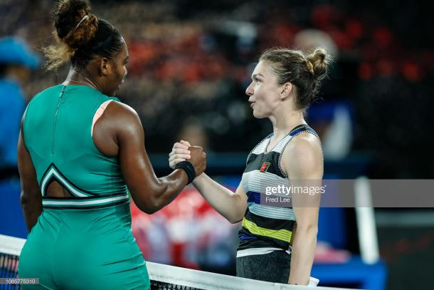 Williams and Halep following their clash at the Australian Open earlier this year (Getty Images/