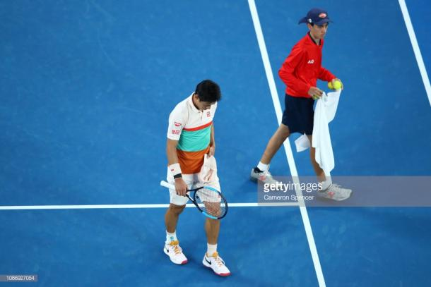 Nishikori has never retired against Djokovic in their 18 meetings (Image source: Cameron Spencer/Getty Images)