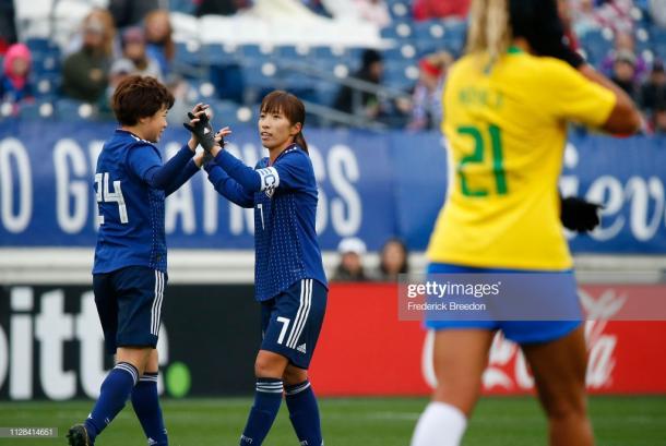 Asato Miyagawa and Emi Nakajima celebrate another goal by Japan | Source: Getty Images