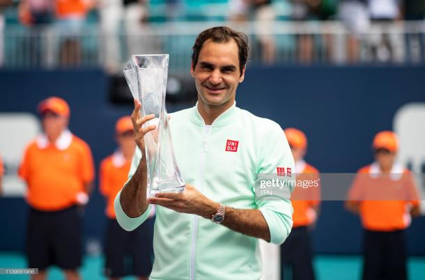 Federer captured the 101st title of his career in Florida last month (Image source: TPN/Getty Images)