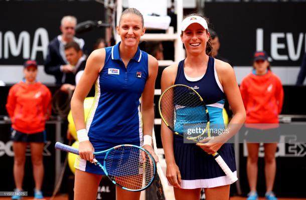 Pliskova and Konta before the final (Getty Images/Clive Brunskill)
