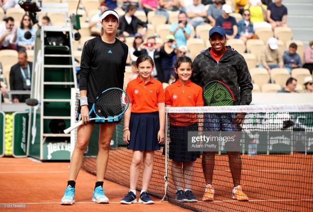 Muguruza and Townsend before the match, which was the first ever to take place on Court Simonne Mathieu (Getty Images/Adam Pretty)