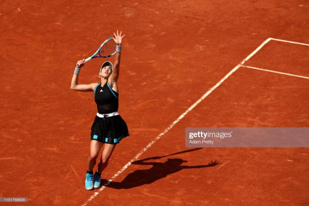 Muguruza in action during her first round victory (Getty Images/Adam Pretty)