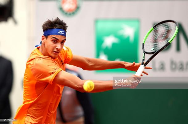 Lorenzo Sonego in action today (Getty Images/Clive Brunskill)