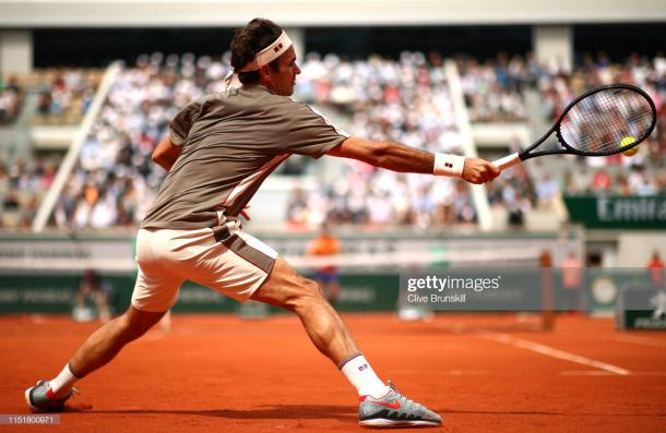 Roger Federer in action today (Getty Images/Clive Brunskill)