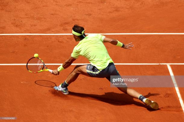 Nadal in action on Court Philippe Chatrier today (Getty Images/Adam Pretty)