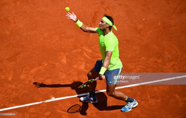 Nadal in action today (Getty Images/Clive Mason)