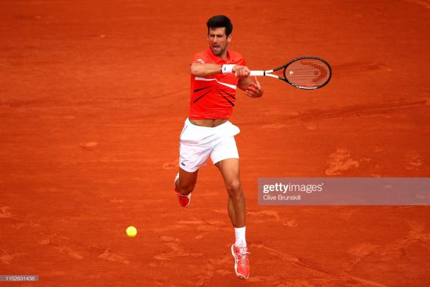 Djokovic in action on Court Suzanne Lenglen (Getty Images/Clive Brunskill)