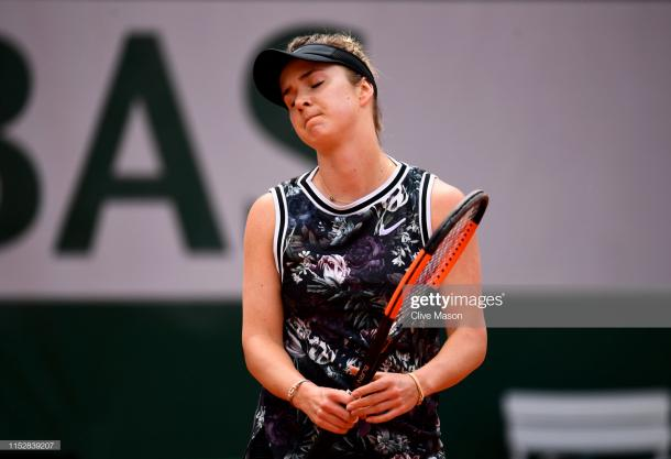 Svitolina was left frustrated as her campaign ended in a straight sets loss (Getty Images/Clive Mason)