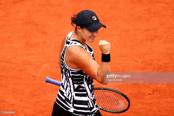 Ashleigh Barty celebrates her three-set win (Getty Images/Clive Brunskill)