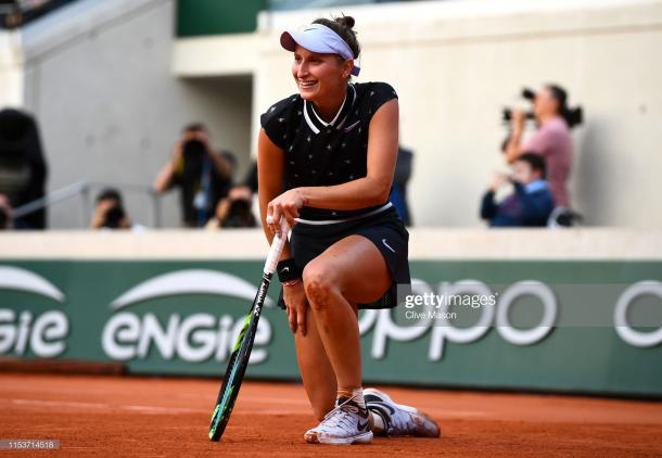 Vondrousova celebrates her last eight win over Petra Martic (Getty Images/Clive Mason)