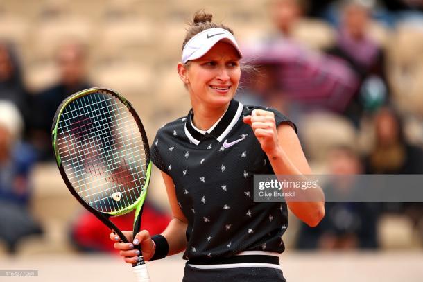 Vondrousova celebrates her semifinal win (Getty Images/Clive Brunskill)