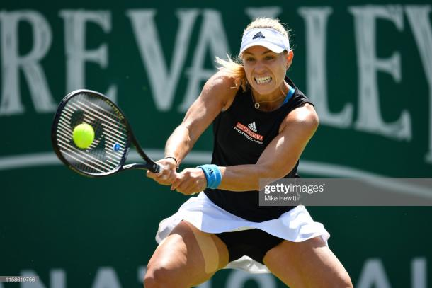 Kerber in action against Halep today (Getty Images/Mike Hewitt)