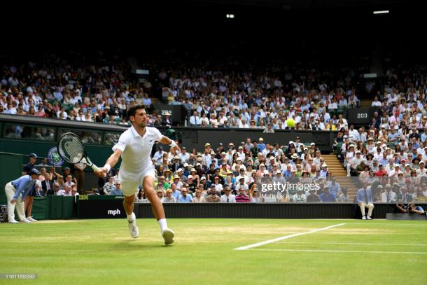 Djokovic was in full flight at times on Centre Court today (Getty Images/Matthias Hangst)