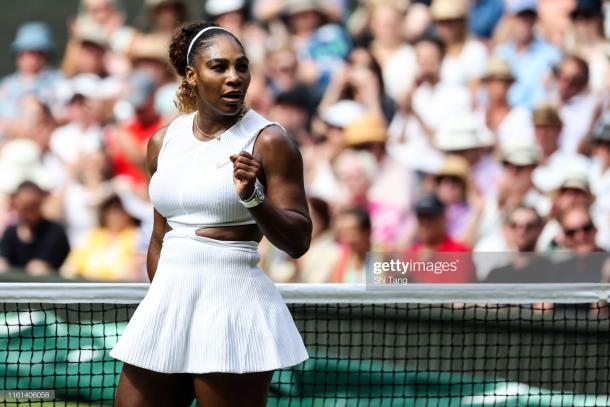 Serena Williams during her dominant semifinal win versus Barbora Strycova (Getty Images/Shi Teng)