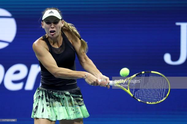 Caroline Wozniacki in action at the US Open | Photo: Mike Stobe/Getty Images