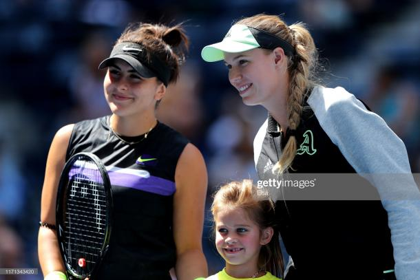 Andreescu and Wozniacki met at the ASB Classic earlier this year, with the Canadian triumphing with the same scoreline | Photo: Elsa/Getty Images