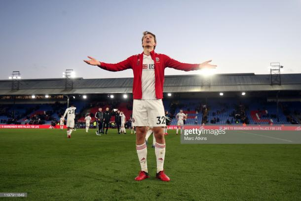 Sander Berge of Sheffield United celebrates in front of the fans after the victory during the Premier League match between Crystal Palace and Sheffield United at Selhurst Park on February 1, 2020 in London, United Kingdom. (Photo by Marc Atkins/Getty Images)